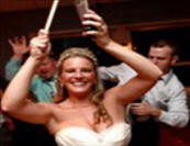 Bride rocking the cowbell!